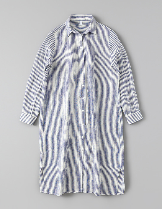 LINEN STRIPE LONG SHIRT