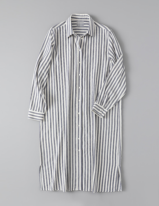 COTTON STRIPE LONG SHIRT